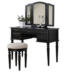 Poundex Bobkona St. Croix Vanity Set with Stool in Black