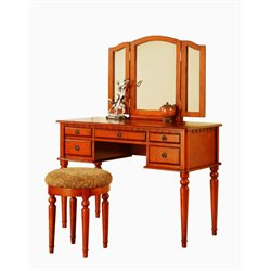 Poundex Bobkona St. Croix Vanity Set with Stool in Walnut