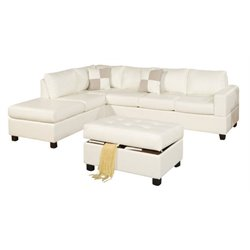 Poundex Bobkona Soft Touch 3 Piece Leather Sectional Sofa Set in Cream