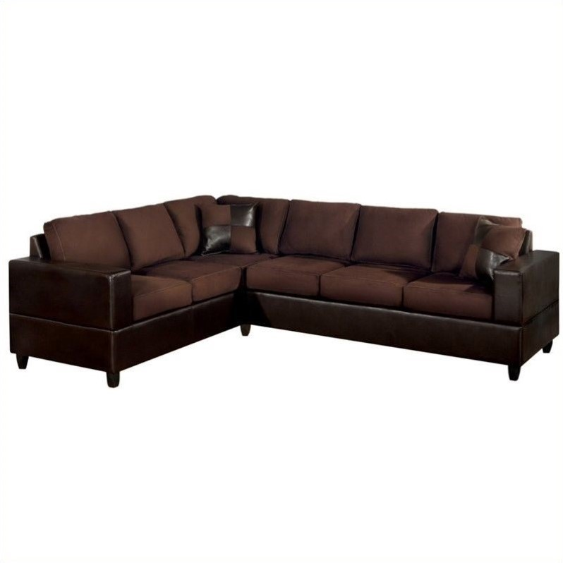 Poundex Bobkona Trenton 2-Piece Sectional with Accent Pillows in Chocolate