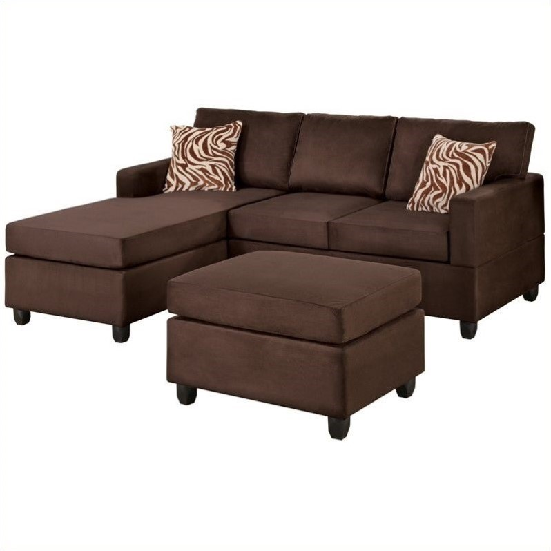 Poundex bobkona manhattan reversible microfiber 3 piece for Chocolate brown microfiber sectional sofa