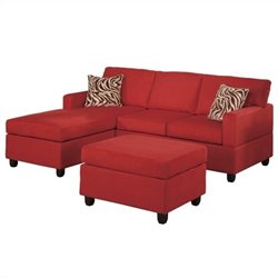 Poundex Bobkona Manhattan Reversible Microfiber 3-Piece Sectional in Red