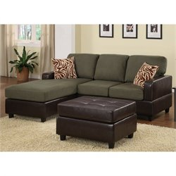 Poundex Bobkona Manhattan Sectional and Leather Ottoman in Sage