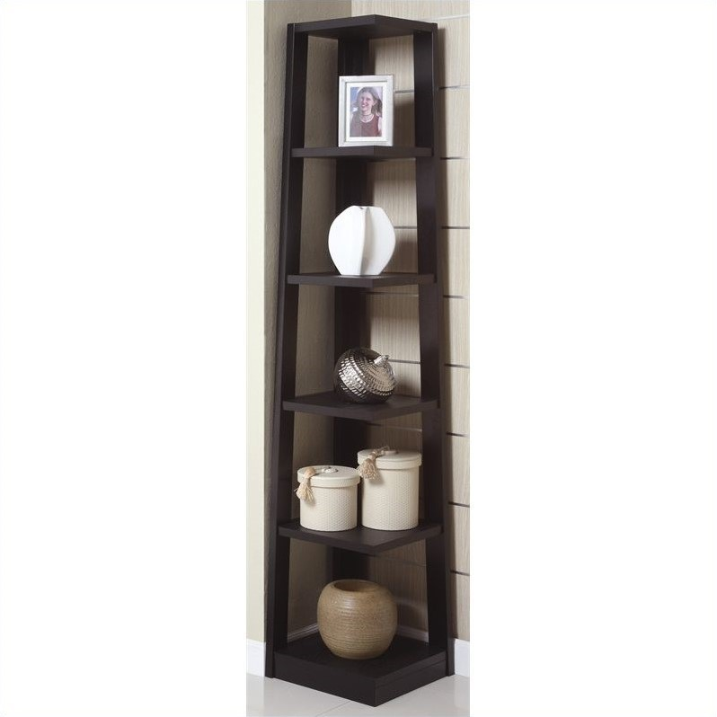 Poundex Corner Bookcase in Black