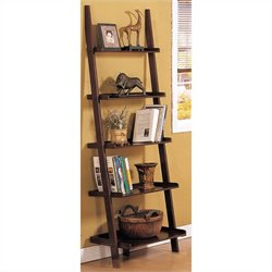 Poundex Ladder Bookcase in Walnut