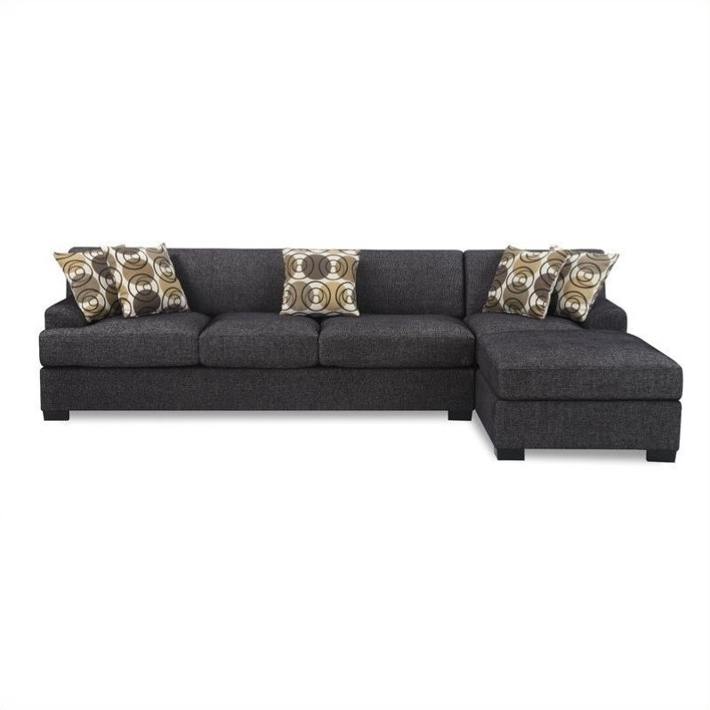 Poundex benford faux linen chaise sofa sectional in ash for Black sectional with chaise