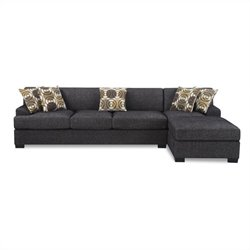 Poundex Benford Faux Linen Chaise-Sofa Sectional in Ash Black