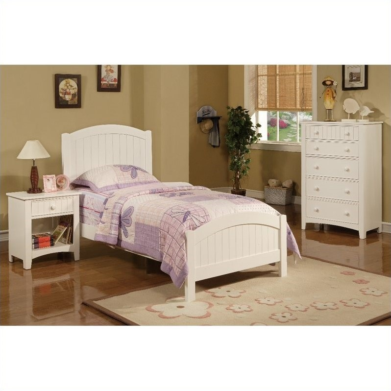 Poundex 3 piece kids twin size bedroom set in white finish for 3 bedroom set