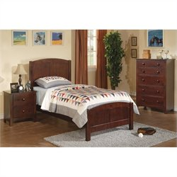 Poundex 3 Piece Kids Twin Size Bedroom Set in Dark Oak