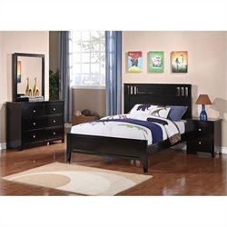 Poundex 4 Piece Bedroom Set in Black - Twin