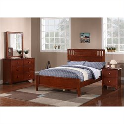 Poundex 4 Piece Bedroom Set in Medium Oak - Full