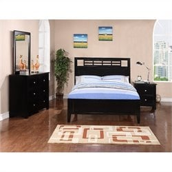 Poundex 4 Piece Youth Bedroom Set in Black - Twin