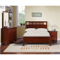 Poundex 4 Piece Youth Bedroom Set in Medium Oak - Full