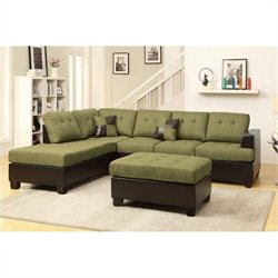 Poundex Bobkona Winden 3 Piece Reversible Sectional Sofa in Peridot