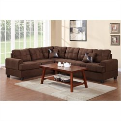 Poundex Bobkona Leo 2 Piece Reversible Sectional Sofa in Chocolate