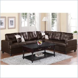 Poundex Bobkona Karen 2 Piece Reversible Sectional Sofa in Espresso