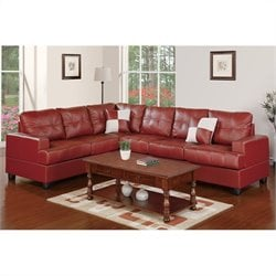 Poundex Bobkona Karen 2 Piece Reversible Sectional Sofa in Burgundy