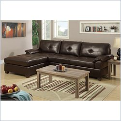 Poundex Bobkona Montreal 2 Piece Reversible Sectional Sofa in Espresso