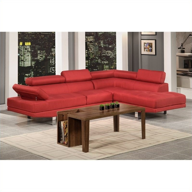 Poundex Bobkona Vegas Piece Sectional Sofa In Red F - 2 piece sectional sofas