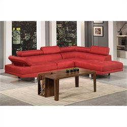 Poundex Bobkona Vegas 2 Piece Sectional Sofa in Carmine