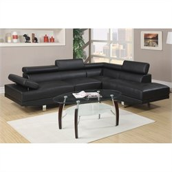 Poundex Bobkona Atlantic 2 Piece Sectional Sofa in Black