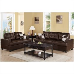 Poundex Bobkona Sherman Sofa and Loveseat Set in Espresso