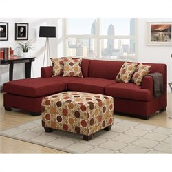 Poundex Bobkona Winfred 2 Piece Reversible Sectional Sofa in Dark Red