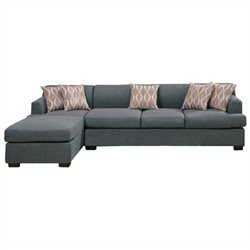 Poundex Bobkona Hudson 2 Piece Sectional Sofa in Blue Gray