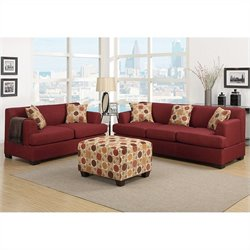 Poundex Bobkona Baldwin Sofa and Loveseat Set in Dark Red