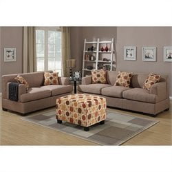 Poundex Bobkona Baldwin Sofa and Loveseat Set in Stone