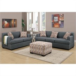Poundex Bobkona Baldwin Sofa and Loveseat Set in Blue Gray