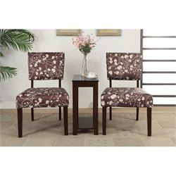 Poundex Bobkona Preston 3 Piece Accent Chairs and Table Set in Small Flower Pattern