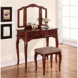 Poundex Bobkona Susana Mirror Vanity Table with Stool Set in Cherry