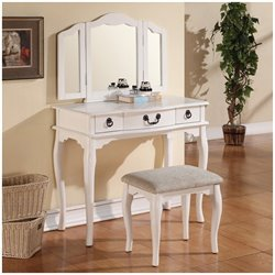 Poundex Bobkona Susana Mirror Vanity Table with Stool Set in White