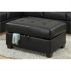Poundex Bobkona Searra Bonded Leather Storage Ottoman in Black