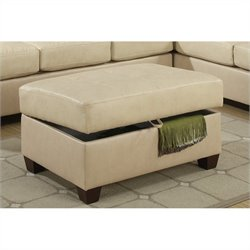 Poundex Bobkona Searra Bonded Leather Storage Ottoman in Khaki