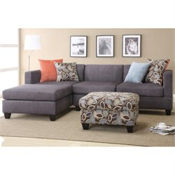 Poundex Bobkona Trinidad Microfiber Sectional Sofa in Charcoal