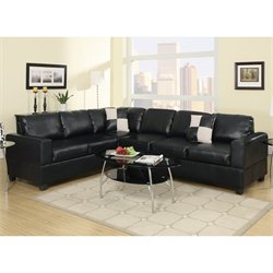 Poundex Bobkona Hanson Faux Leather Sectional Sofa in Black