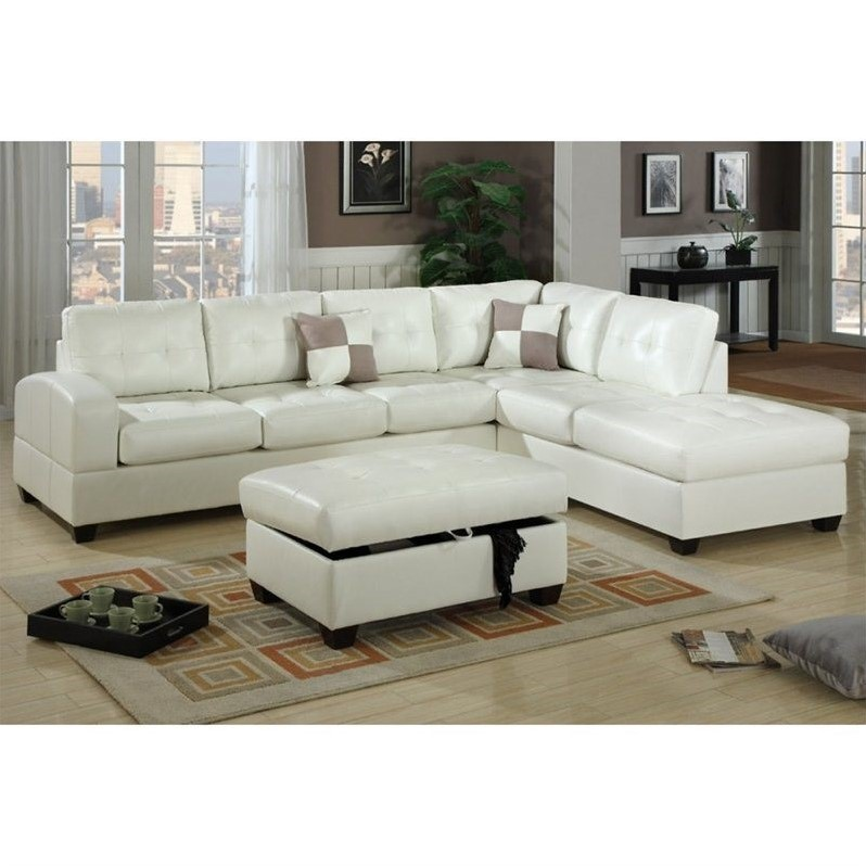 Poundex bobkona athena bonded leather sectional sofa in for Poundex white faux leather modern sectional sofa