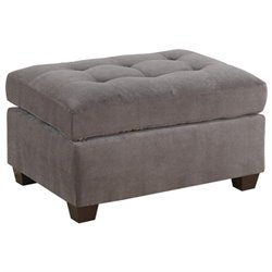 Poundex Bobkona Kasen Waffle Suede Ottoman in Charcoal