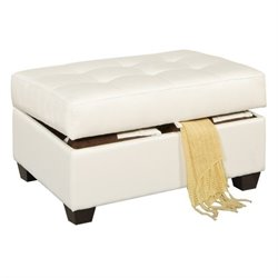 Poundex Bobkona Marla Leather Storage Ottoman in White