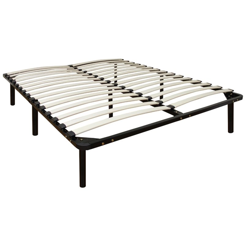 Full Wood Slat And Metal Bed Frame In Black 127007 5030