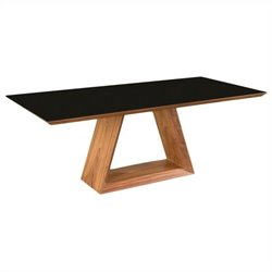 Moe's Lagarno Dining Table with Glass Top in Walnut