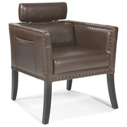 Moe's Derby Leather Club Chair in Brown