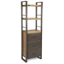 Moe's Brooklyn Small Bookshelf with Drawers in Dark Brown