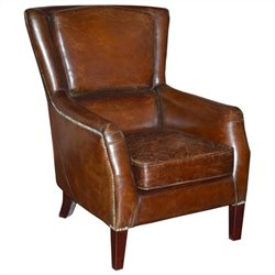 Moe's Chester Leather Club Chair in Brown