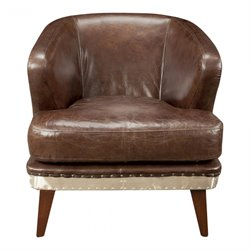 Moe's Preston Metal and Leather Club Chair in Brown