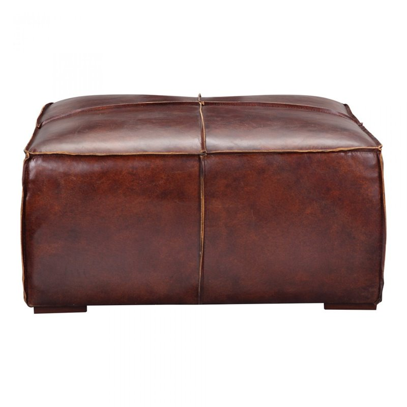 Moe 39 s stamford leather ottoman coffee table in brown pk 1019 20 Brown leather ottoman coffee table