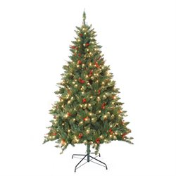 Jeco 7' Pre-Lit Berrywood Pine Artificial Christmas Tree