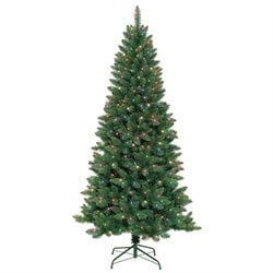 Jeco 7' Slim Pre-Lit Artificial Christmas Tree With Metal Stand